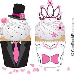 bryllup, cupcake