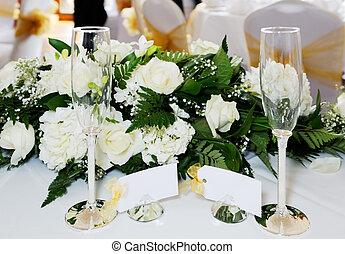 bryllup, glas champagne