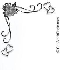 bryllup, hjørne, roser