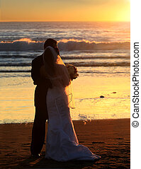 bryllup, hos, solnedgang