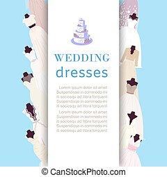 bryllup, mode, butik, klæde, vektor, klæde, shop, brude, plakat, illustration.