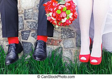 bryllup, rød, sokker, sko