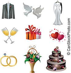 bryllup, sæt, ikon
