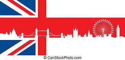 brytyjska bandera, z, londyn, sylwetka na tle nieba