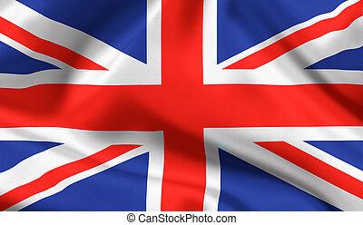 brytyjski, państwowa bandera, zrzeszeniowa dźwigarka