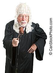 brytyjski, sędzia, z, peruka, -, gniewny