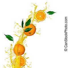bryzg, sok pomarańczowy, odizolowany, biały