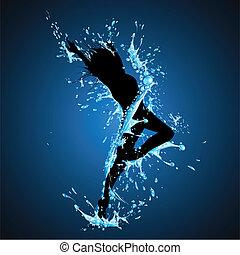 bryzgając, taniec, dama