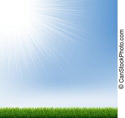 brzeg, błękitna zieleń, niebo, trawa