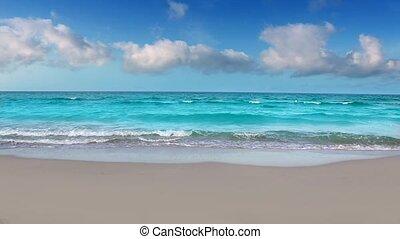 brzeg, idylliczny, plaża, turkusowe morze