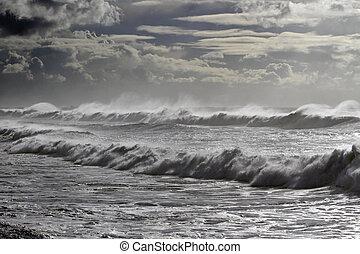 brzeg, morze, długi, fale