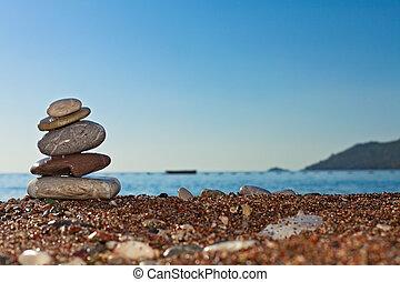 brzeg, morze, kamienie