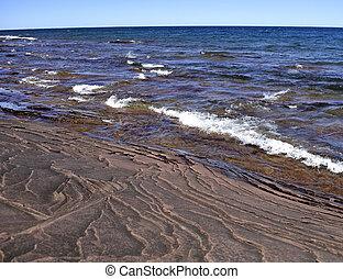 brzeg, od, jeziorowy michigan