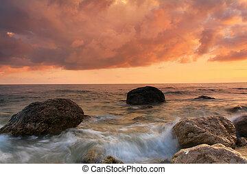 brzeg, zachód słońca, morze