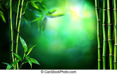 brzeg, zielony, bambus, ciemny, las