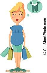 brzemienna kobieta, dzierżawa, zakupy, bags., wektor, ilustracja