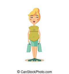 brzemienna kobieta, z, zakupy, bags., wektor, ilustracja