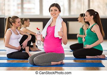 brzemienne kobiety, na, gym.