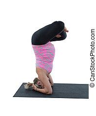 brzemienny, stosowność, kobieta, ustalać, napinać, na, yoga, i, pilates, poza, na białym, tło, przedimek określony przed rzeczownikami, pojęcie, od, sport, i, zdrowie