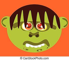 brzydki, face., zielony, rysunek, potwór