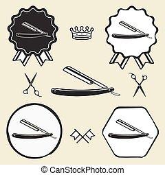 brzytwa, emblemat, symbol, zbiór, etykieta, fryzjer