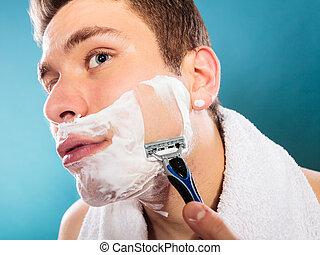 brzytwa, przystojny, człowiek, golenie