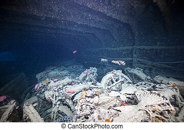 BSA WDM 20 motorcycles in hold 1 of the SS Thistlegorm.