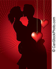 Bsilhouette of couple kissing