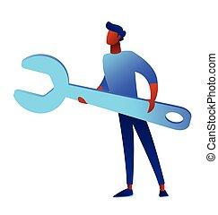Bsinessman is holding huge wrench vector illustration.