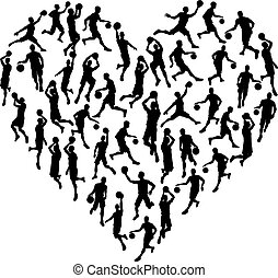 Bsketball Heart Silhouette Concept