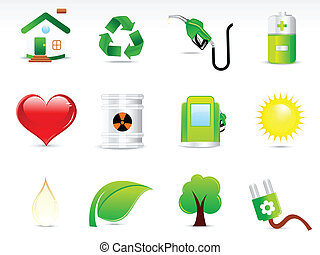 bstract, verde, eco, icono, conjunto