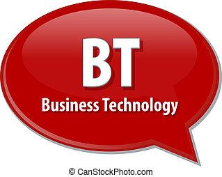 BT acronym word speech bubble illustration