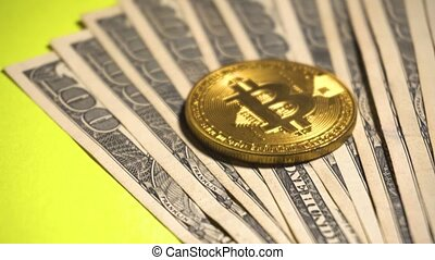 Btc coin over hundred dollars. Gold coin of Bitcoin digital...