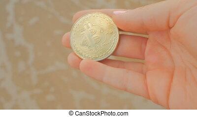 BTC golden coin as symbol of electronic virtual money in...