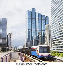 bts, elétrico, estrada ferro, céu, trem, em, bangkok, tailandia, céu, trem, mos