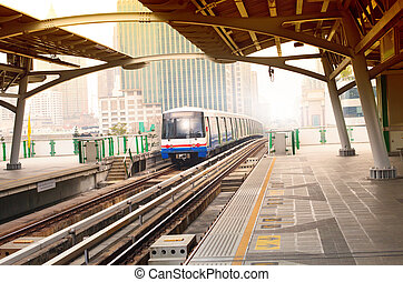 bts sky trains in bangkok city important urban...