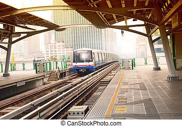 bts sky trains in bangkok city important urban...