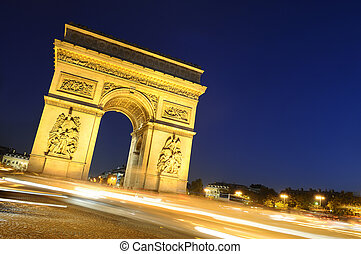 bty, triumph., frança, paris, arco, night.