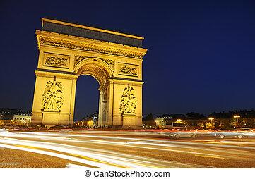 bty, triumph., francia, parís, arco, night.