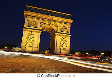 bty, triumph., frankrijk, parijs, boog, night.