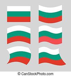 bułgaria, flag., komplet, od, bandery, od, bułgar, republika, w, różny, forms., rozwijanie, bułgar, bandera, od, europejczyk, stany