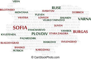 bułgaria, słowo, chmura, mapa
