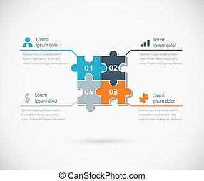 bu, puzzle, infographic, opzioni, pezzo