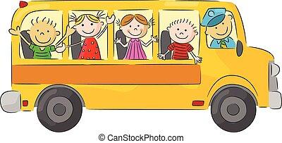 bu, scuola, felice, bambini, cartone animato