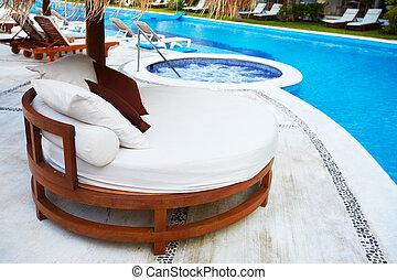 bubbelpool, och, a, badbassäng, hos, karibisk, resort.