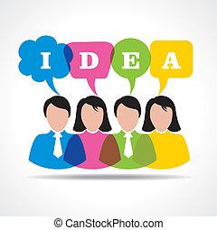 bubbl, meddelande, lag, idé, folk