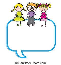 bubbla, anförande, barn, sittande