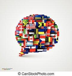 bubbla, anförande, flaggan, bilda, värld