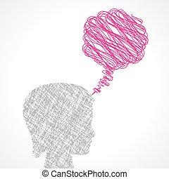 bubbla, anförande, kvinnlig, abstrakt