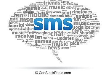 bubbla, anförande, -, sms